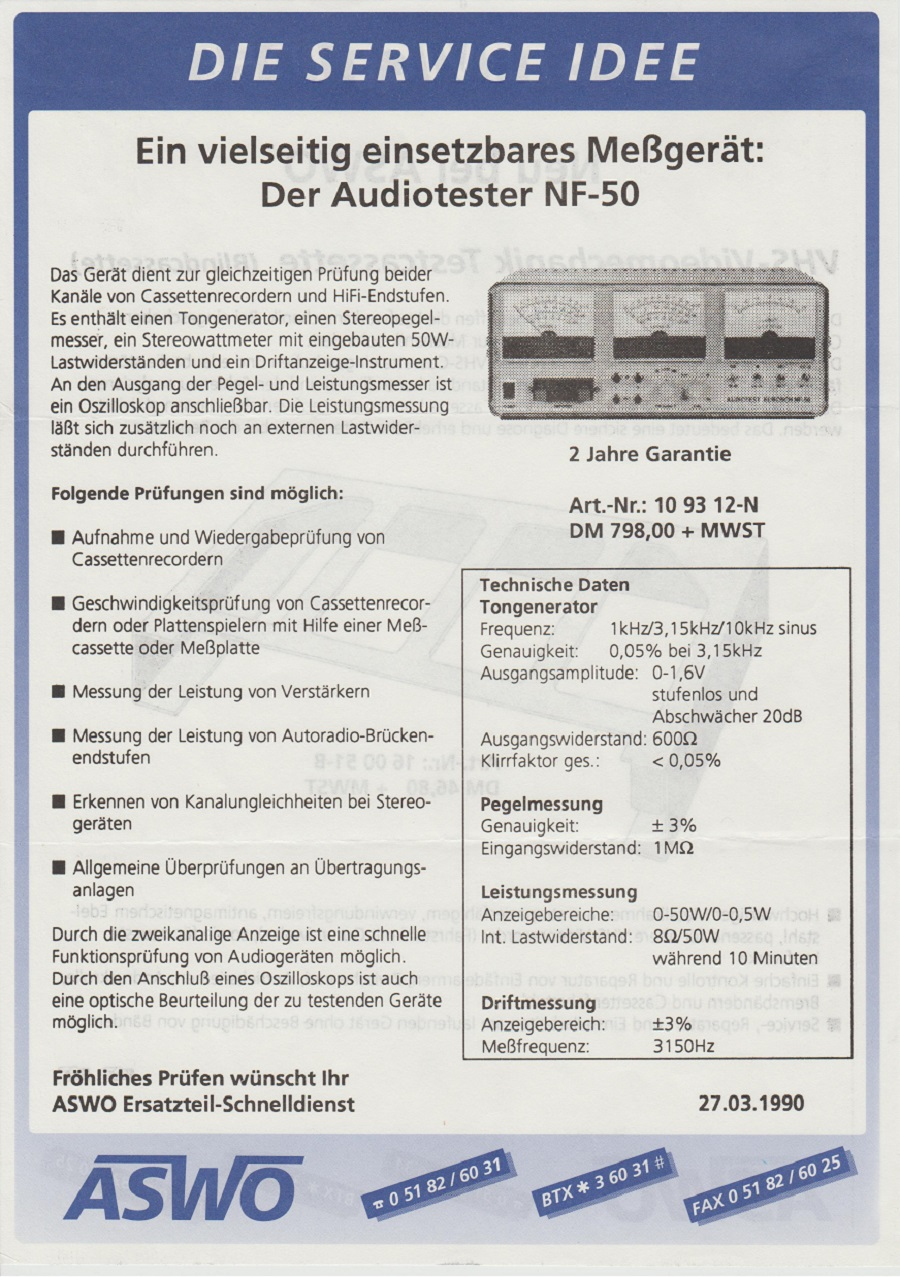 ASWO Audiotester NF-50 27.03.1990