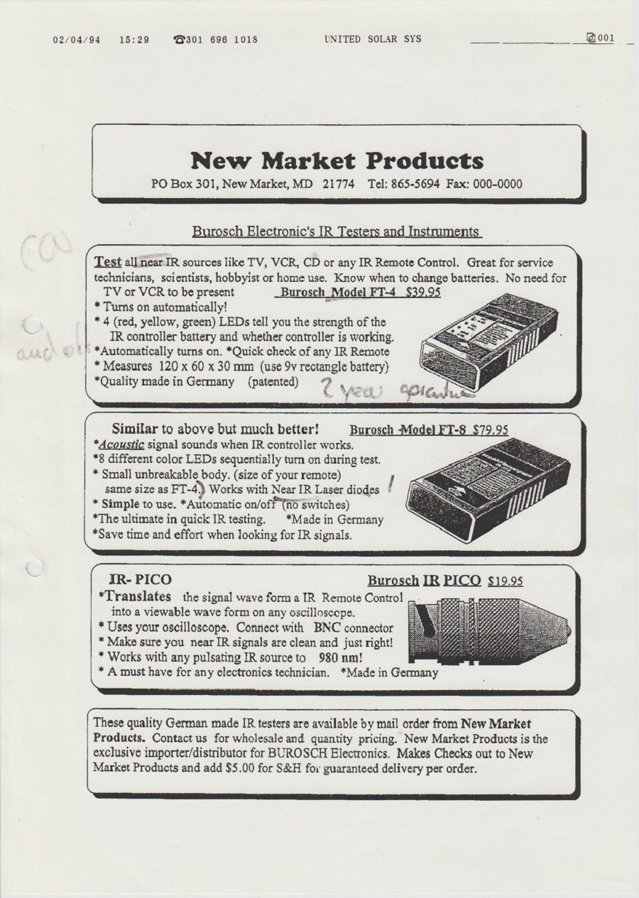 Burosch New Market Products 02.04.1994