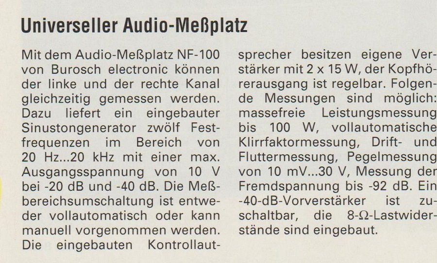 Universeller Audio-Meßplatz