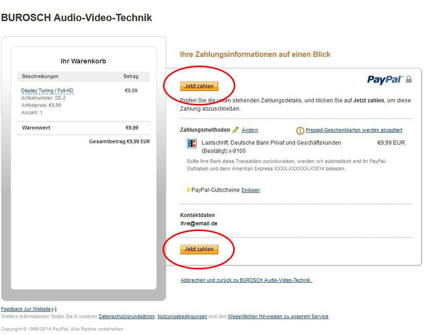 One Click Payment Mit Paypal